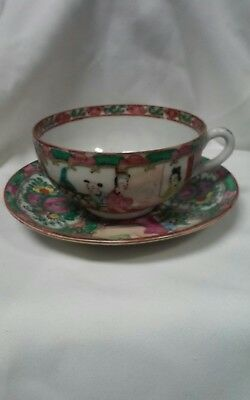 Antique Rose Medallion With Bluebird Delicate Porcelain Cup And Saucer -Excell.