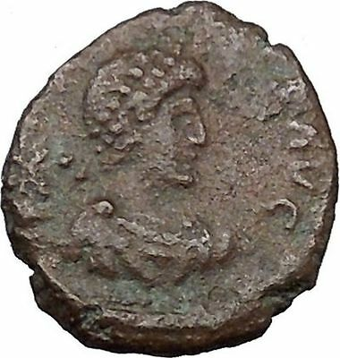 ARCADIUS 383AD Authentic Ancient Roman Coin VICTORY Nike with trophy  i36220