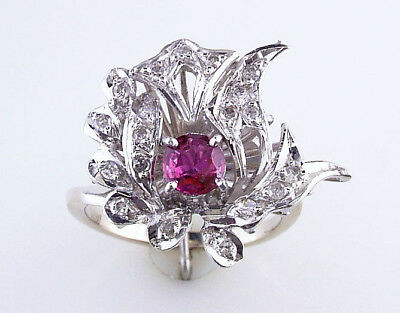 Vintage Art Deco .75Ct Ruby Diamond White Gold Engagement Cocktail Ring 4.3G