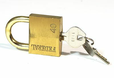 Federal Master Lock Co Padlock #40 (40mm) Brass Heavy Duty 2 keys 5340014127004