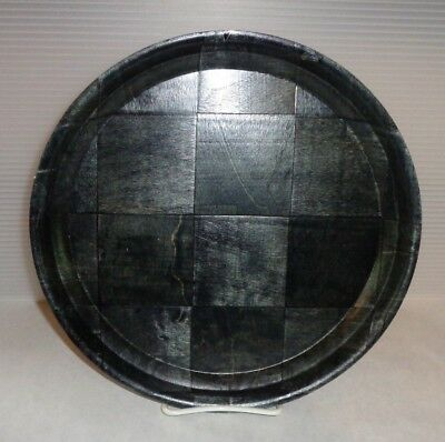 Mid Century Vintage Black Weavewood Round Wood Serving Tray Lightweight 11""
