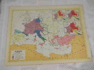 Map Of England 800.1954 Map Of Europe C 800 Ad Four Historical Maps Of England On Reverse