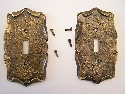 Lot Of 2 Vintage Brass Amerock Carriage House Light Switch Plate Covers