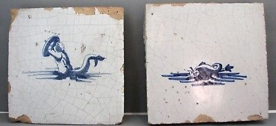 Two Antique Dutch Delft Tiles Merman and Sea Creature