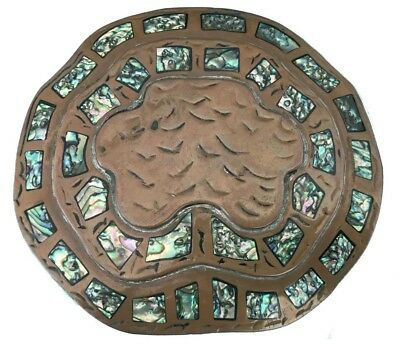 Vtg Solid Copper Handmade Belt Buckle Abalone Shell Inlay Shell Nautical Art 70s