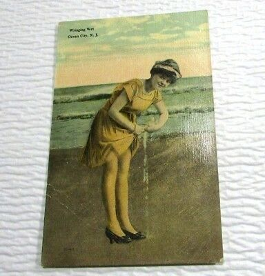 Antique Colored Postcard Wringing Wet Bathing Beauty At Beach Ocean City NJ
