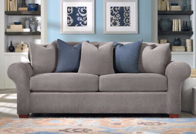 Sure Fit Stretch Pique 2 Seat Individual Cushion Sofa Covers Flannel Gray