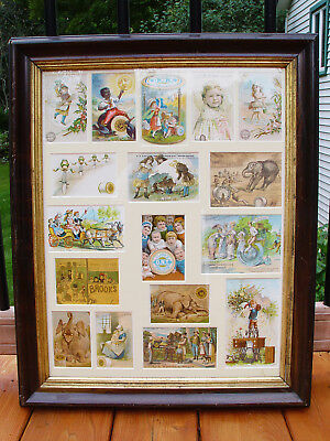 Singer Sewing Machine Antique J P Coats Thread Trade Advertising Cards Framed
