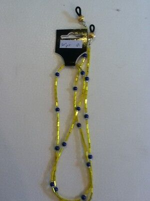 Eyeglass / Sunglass  chain holder..Handcrafted..Beaded..Yellow & Blue..NWT!