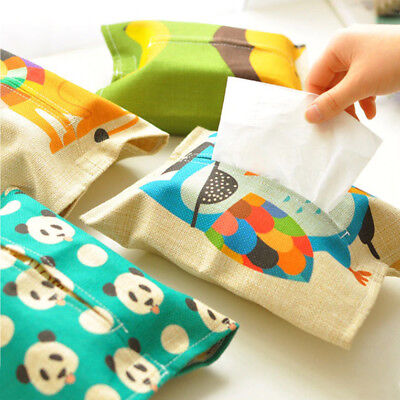 Cartoon Animal Pattern Tissue Box Plush Napkin Paper Container Towel Case Pouch