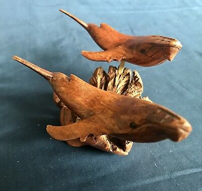 Hand Carved Wooden Humpback Whale On Driftwood Stand