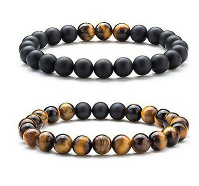 Men Women 8mm Elastic Yoga Beads Natural Stone Tiger Eye Agate Bracelets Bangle