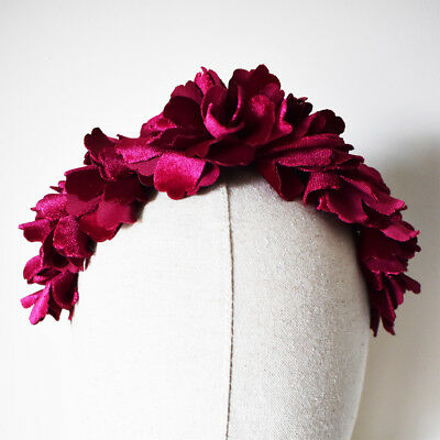 Burgundy Fascinator Races Flower Crown Red Velvet Headband Wedding Headpiece