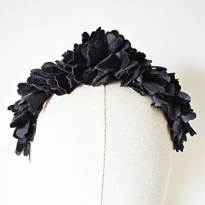 Black Fascinator Races Flower Crown Velvet Headband Wedding Headpiece