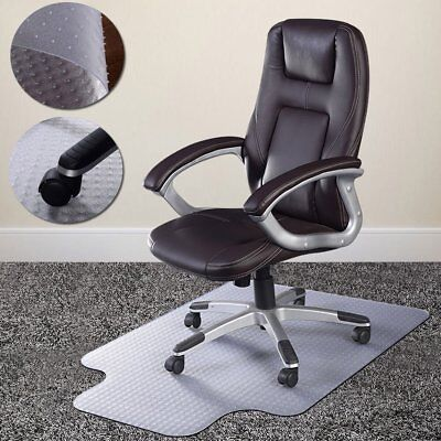 Non Slip Office Chair Desk Mat Floor Carpet Protector PVC Plastic Transparent UK