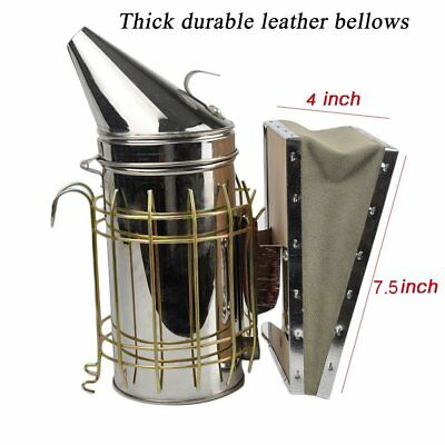 Stainless Steel Bee Hive Smoker Large Beekeeping Equipment With Hanging Hook UK