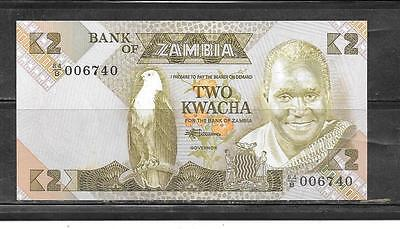 ZAMBIA #24c 1988 OLD UNCIRCULATED 2 KWACHA BANKNOTE NOTE  PAPER MONEY CURRENCY