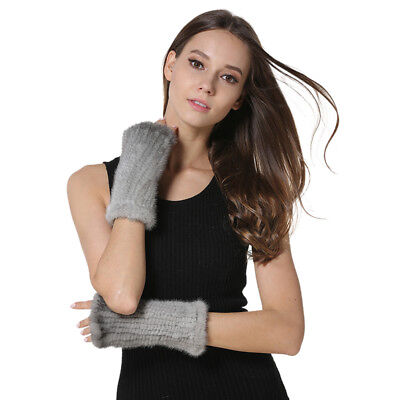 Womens Real Mink Fur Gloves Knitted Fur Keyboard Mittens Students Writing Gloves