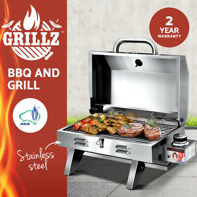 Grillz Portable Gas BBQ Heater Stainless Steel Outdoor Grill Cooking Carava