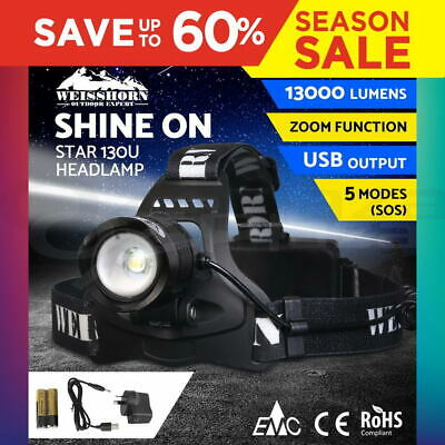 WEISSHORN LED Headlamp Rechargeable Head light Torch Lamp 21000LM XML T6 Camp