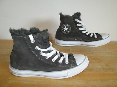 73864148d376 Converse Grey Suede Fur Lined All Star Chuck Taylor HiTop Unisex Trainers  Size 6
