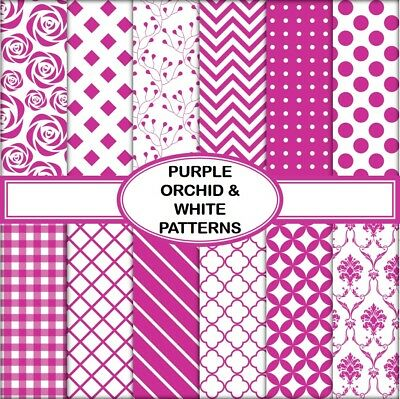 PURPLE ORCHID & WHITE PATTERNS SCRAPBOOK PAPER - 10 x A4 pages