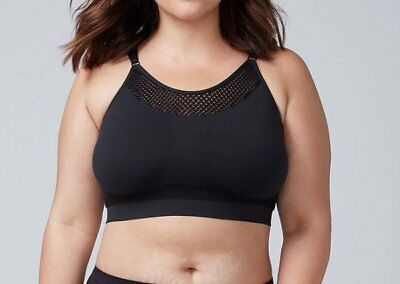 9220aa1aa3 New Cacique Lane Bryant Black Fishnet Seamless Racerback Bralette Bra 18 20