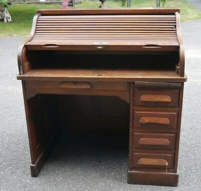 Antique Golden Oak Raised Panel Roll Top Desk GREAT SMALL SIZE Needs Restoration