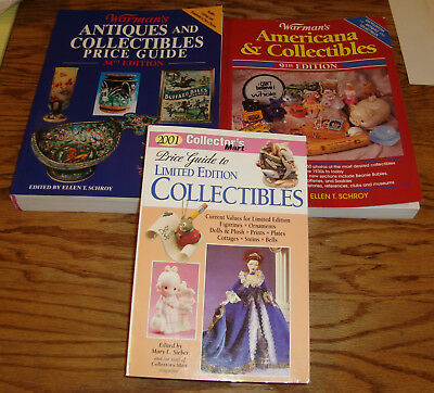 Collectibles Price Guide Book Lot of 3 Warmans 9th 34th 2001 Collectors Mart