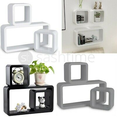 New Set of 3 CUBE Rectangle Wall Mounted Shelves Floating Shelf Bookcase Hanging