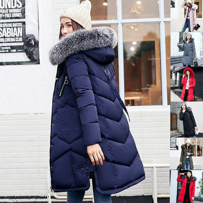 2018 New Womens Ladies Quilted Winter Coat Puffer Fur Collar Hooded Jacket Parka