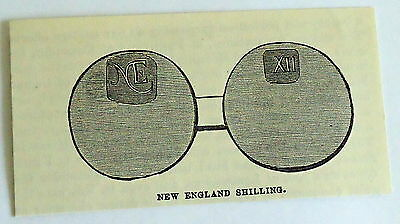 small 1882 magazine engraving ~ NEW ENGLAND SHILLING