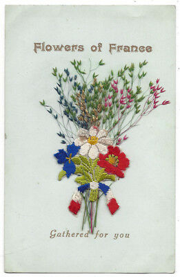 FLOWERS OF FRANCE Gathered for you, Novelty Embroidered Postcard Unposted