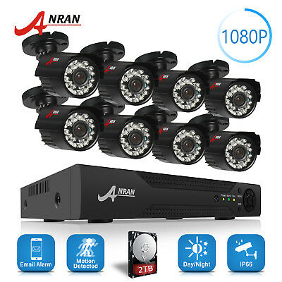 ANRAN IP Wired Security Camera System 1080N 8CH 2TB 2.0MP Home CCTV DVR Kit IP66