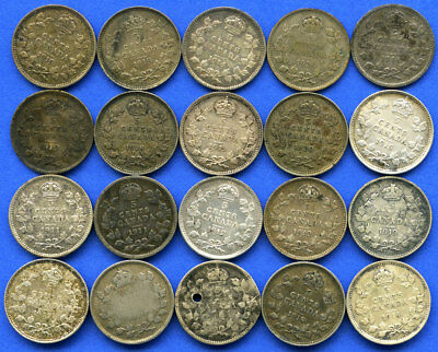 20 Piece Lot Mixed Date George V Sterling Silver Canadian 5 Cent Canada Coin