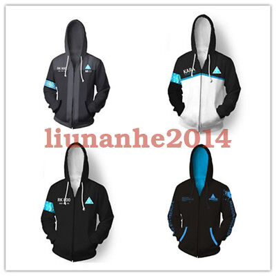 Game Detroit: Become Human 3D Hoodie RK800 Connor Zip Unisex Jacket Coat Thin