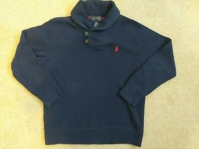 POLO Ralph Lauren Boys 8 Shawl Collar Pullover Ribbed Sweatshirt Sweater Top