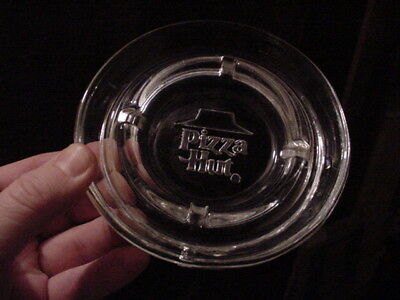 VINTAGE PIZZA HUT RESTAURANT 1980's ADVERTISING CLEAR GLASS ASHTRAY NICE