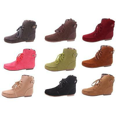 Women Autumn Winter Warm Motorcycle Martin Women's Ankle Boots Lace Up Shoes D