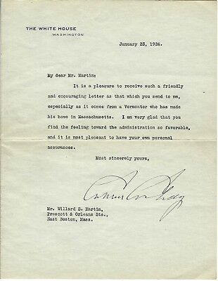 01-23-1924 Calvin Coolidge Typed Letter Signed On White House Stationery