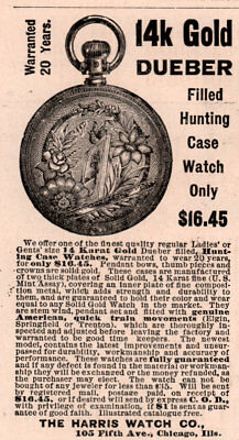 1888 A Ad  Harris Watch Co Dueber Gold Filled Hunting Case