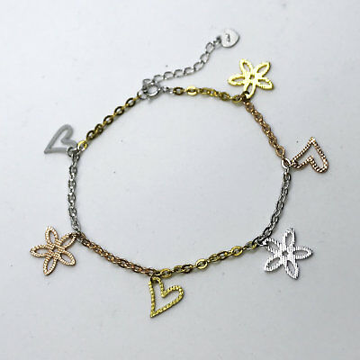 NEW Rose, Yellow, White Gold Layered on Sterling Silver Heart & Flower Bracelet