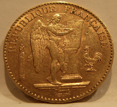 France 1896 A Gold 20 Francs Angel UNC