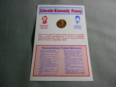 """1974 Lincoln Kennedy Inset Cent Penny Astonishing Coincidences 4""""x 6"""" Card"""
