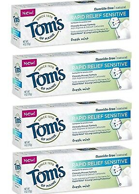 Tom's of Maine Rapid Relief Sensitive Fluoride-Free Toothpaste 4oz each (4-pack)