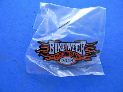 Daytona 2018 BIKE WEEK PIN  orange and black FLAMES