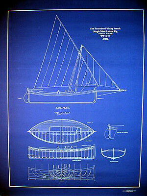 "Vintage Sailboat Fishing Boat 1908 San Francisco Blueprint Plan 24""x29""    (073)"