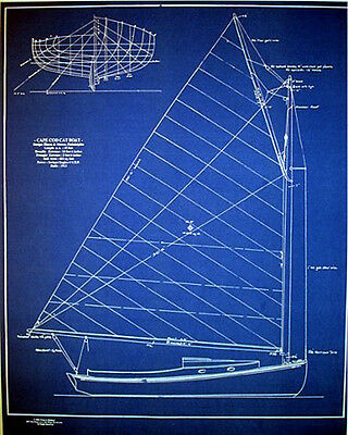 "Vintage Cape Cod Cat Boat 1913 Builders Blueprint Plan 19"" x 24"" (275)"