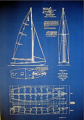 "Vintage Pond Model 1930 Sailboat Blueprint Plans 2 pgs 20""x30"" (165)"