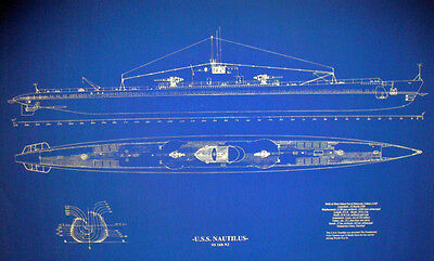 "WW2 US Navy Submarine USS Nautilus SS168 Ships Plan Blueprint (18""x32"" (153)"